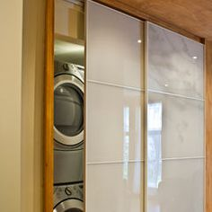 I like the stack able washer and dryer behind the sliding doors!