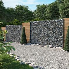 Gabion stone basket sight protection anthracite stone fence gabion fence fence – All For Garden Gabion Stone, Gabion Fence, Gabion Wall, Stone Fence, Diy Fence, Backyard Fences, Garden Fencing, Fenced In Yard, Fence Ideas