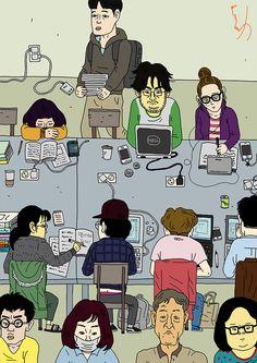 여기에 내일이 있다 My work in the future  #cartoon #illustration #asia #korea #seoul #dream #library