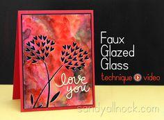 Sandy Allnock - Watercolor Background #Tutorial - Faux Glazed Glass #video