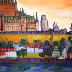 Basse-Ville Québec par Normand Boisvert 30 x 60 / Huile sur toile  #Quebec #Toile #¨Peinture #Painting #Art #Artist Land Scape, Painting, Oil On Canvas, Normandie, Bass, Radiation Exposure, City, Artist, Painting Art