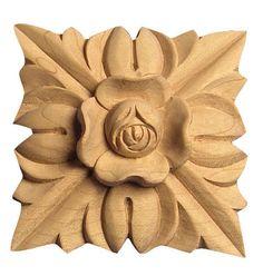"""3-3/4""""SQ X 7/8""""D - Large flowered square applique / rosette"""