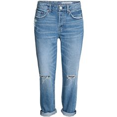 Boyfriend Low Ripped Jeans 399 ($40) ❤ liked on Polyvore featuring jeans, pants, h&m, destroyed denim jeans, distressed jeans, destructed boyfriend jeans, boyfriend fit jeans and torn boyfriend jeans