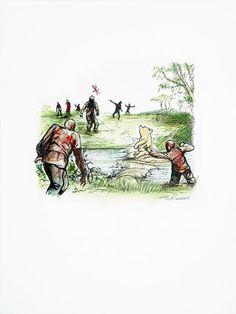 James Rawson. Unholy Land. Pen and watercolour on paper. Original. £250 #jamesrawson #unholy #winniethepooh #pooh #zombies #drawing #painting #art #brighton #nowallsgallery