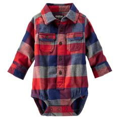Make fall and winter dressing easy with this newborn and infant boy's flannel bodysuit from OshKosh B'gosh. With a multicolor checkered design, a pointed collar and chest pockets, this long-sleeve bodysuit will have him looking like one of the big guys. Baby Outfits, Baby Boy Fashion, Kids Fashion, Fall Fashion, Jace, Baby Boy Tops, Oshkosh Baby, Oshkosh Bgosh, Cute Baby Clothes