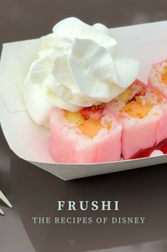 Frushi is served at the Walt Disney World Flower and Garden Festival! This fruit inspired sushi is a popular dish to get during this annual event at Epcot! Dessert Sushi, Fruit Sushi, Key Lime Desserts, Oreo Desserts, Sushi Recipes, Fruit Recipes, Dessert Recipes, Disney Inspired Food, Disney Food