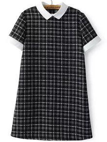 Black White Short Sleeve Plaid Dress