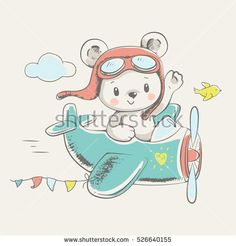 Cute little bear flying on a plane cartoon hand drawn vector illustration. Can be used for baby t-shirt print, fashion print design, kids wear, baby shower celebration greeting and invitation card.
