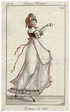 Journal des Dames et des Modes, 1799. Well, her face is giving me nightmares, but her gown is awesome. I love all the little details of the trim!