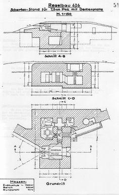 Regelbau 626 - Stilling til 7,5cm Pak med plade i loftet - Schartenstand für 7,5cm Pak 40 mit Deckenplatte - Casemate for 7,5cm Pak with roof canopy.