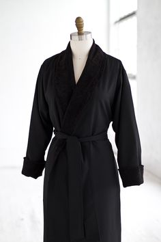 Terry Seersucker Black Spa Robe — LUXURY SPA ROBES  9f11db180