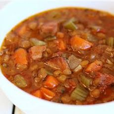 Slow Cooker Lentil and Ham Soup Recipe - Great for left over ham, and the benefits of lentils are endless.