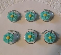 These are adorable hair accessories for #flowergirls. Daisy Hair Swirls in Aqua for Summer Wedding by hairswirls1, $9.99