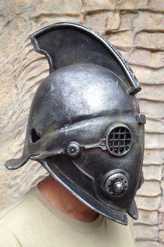Gladiator Helmet SecutorReplica Ancient by BirdArtBulgaria on Etsy Steampunk Armor, Steampunk Fairy, Larp Armor, Steampunk Costume, Fantasy Armor, Medieval Fantasy, Elmo, Gladiator Helmet, Paintball Mask