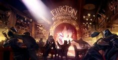 """Narrative artwork is that which tells a story. This is important for designers when their art should """"speak for itself."""" If the artwork doesn't tell a story, it doesn't capture people's attention. This concept art from Bioshock Infinite immediately conveys a story to the viewer. A crowded, noisy bar in which somebody has started a brawl. Unknown artists."""