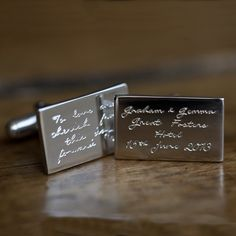 Personalised Engraved Message Silver Cufflinks | Under the Rose