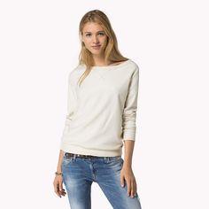 Hilfiger Denim Janine Unifarben Sweatshirt - egret-pt (Weiß) - Hilfiger Denim Sweatshirts und Hoodies - Hauptbild