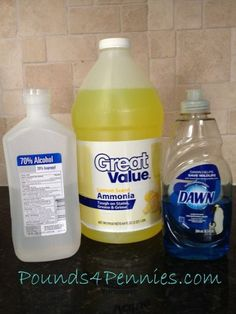 Homemade cleaning products for window cleaner. Several recipes are listed including green cleaning products with no harsh chemicals.