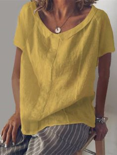 Omygeeze Short Sleeve 1 Blue Dark Pink White Yellow Women Tops Casual V Neck Cotton Daytime Tops – omygeeze V Neck Blouse, Short Sleeve Blouse, Neck T Shirt, Short Sleeves, Casual Tops For Women, Blouses For Women, Valencia, Couture, Pull