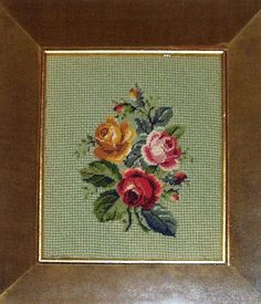 Vintage Needlepoint Framed Wall Art Pink Roses