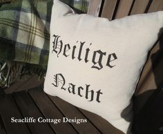 Heilige Nacht pillow # handpainted on dropcloth @ Seacliffe Cottage Designs  pic only - use for inspiration Merry Christmas everyone!! :)