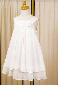 This is an A-line and mini length dress with a decorated hand rolled flower on the chest made in USA.This White dress is made by chiffon for all body and satin around the neck line.80% Off, Free Shipping, Low price Guarantee & High Quality.