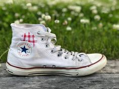 """RullaKoo, Riitta Kahelin on Instagram: """"My old Converse shoes got a new look. #visiblemending #savedfromlandfill #mendyourclothes #mendingmatters #mindfulmending #mindfulstitching…"""" Converse Chuck Taylor High, Converse High, Converse Shoes, High Top Sneakers, Visible Mending, Chuck Taylors High Top, All Star, New Look, High Tops"""