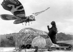 Godzilla obliterates Mothra in the film, and she is redeemed by her children the little baby Mothra larva who web up Godzilla and send him into the sea. Description from cinebuck.tumblr.com. I searched for this on bing.com/images