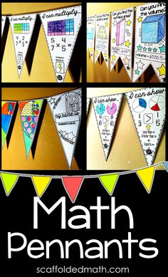 Students love seeing their work displayed. Even my older students loved displaying their math worksheets on our classroom math bulletin board. Math pennants are a fun way to display student-created work while giving them a fun activity to color (while practicing their math-- shhhh!). Students won't feel like they are working and in the end you'll have the perfect math classroom display that students are proud of. Teaching 6th Grade, 3rd Grade Classroom, 7th Grade Math, Teaching Math, Maths Classroom Displays, Math Bulletin Boards, Math Classroom Decorations, Guided Math, Math Worksheets