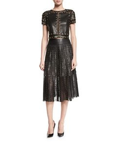 Alice + Olivia Rebecca Studded Leather Top w/Lace Trim Tianna Studded Leather & Floral Lace Skirt, Black Black Lace Skirt, Midi Length Skirts, Studded Leather, Fashion Outfits, Womens Fashion, Alice Olivia, Floral Lace, Neiman Marcus, Formal Dresses