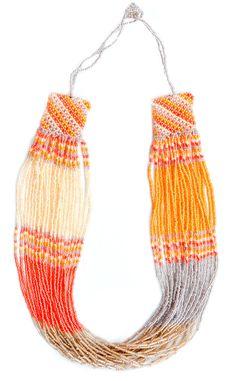 Bright beaded necklace made by women in rural South Africa