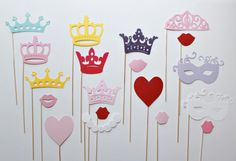 Princess PhotoBooth Props - Nineteen Princess Wedding and Birthday Photobooth Party Props Photos Booth, Diy Photo Booth, Princess Wedding, Princess Party, Wedding Dj, 3rd Birthday, Birthday Parties, Throw A Party, Party Props