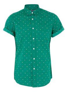 Balsam Green Flags Print Shirt Short sleeve
