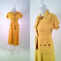 Vintage 1940s Sunflower Yellow Cotton Dress with by SLVintage, $65.00