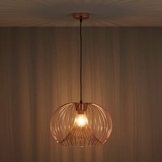 Jonas Wire Copper Pendant Ceiling Light - B&Q for all your home and garden supplies and advice on all the latest DIY trends Copper Pendant Lights, Copper Lamps, Copper Lighting, Light Pendant, Living Room Ceiling Fan, Chandelier In Living Room, Lounge Lighting, Dining Room Lighting, Bar Lighting
