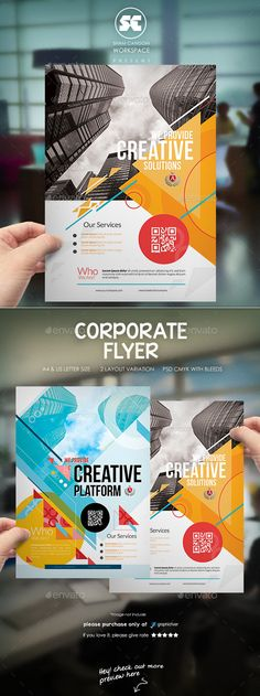 Buy Creative Corporate Flyer by shamcanggih on GraphicRiver. Flyer templates designed exclusively for corporate, business, product, services or any of use. Brochure Cover, Brochure Layout, Brochure Design, Design Studio, Box Design, Layout Design, Flyer Layout, Poster Layout, Corporate Flyer
