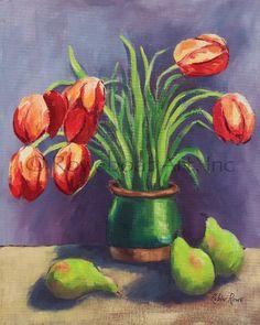 Tulip and Pear Study Artwork: Beach Decor, Coastal Home Decor, Nautical Decor, Tropical Island Decor & Beach Cottage Furnishings