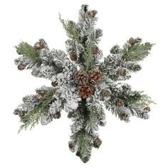 Flocked snowflake-shaped Christmas #wreath with pinecones! #holiday
