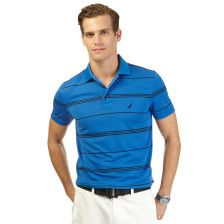 Slim Fit Striped Tech Pique Polo Shirt