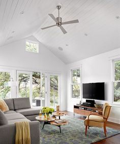 farmhouse living room by Clayton&Little Architects, this is perfect living space for above our kitchen/dining/garage area. Just need taller trees.... : )