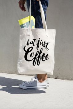 Tote Bag But First Coffee Canvas Cotton Tote by PrettyPennyPrints