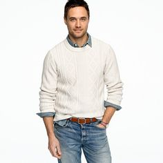 J Crew cotton cable sweater and jeans