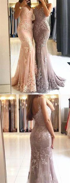 Spaghetti Straps Lace Mermaid Floor Long Custom Evening Prom Dresses, elegant pink mermaid long prom dresses, modest low back evening dresses with appliques P2517