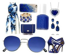 """Blue tropical"" by xxhorseriderxx on Polyvore featuring Adrianna Papell, Ted Baker, Essie, Chanel, Kenneth Jay Lane, Monet and Casetify"