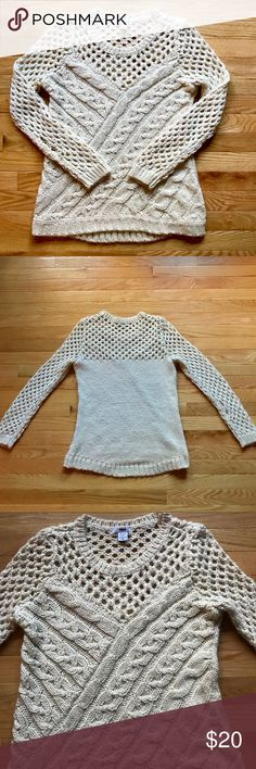 Bar III Cream Open Cable Knit Sweater Size Medium Cozy up in this adorable women's open knit sweater by Bar III. Very soft and comfortable perfect for the holidays! Cream color. Size Medium. Bar III Sweaters