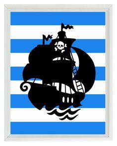 Pirate Ship Art Print - Nautical Nursery Boy Room Black Blue Stripes Wall Art Home Decor  8x10. $15.00, via Etsy.