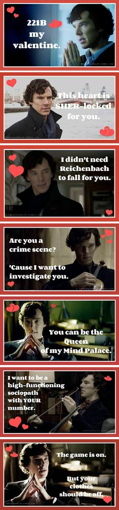 Sherlock wishes you a happy Valentine's Day! (valentines cards from Humble Sandwich)