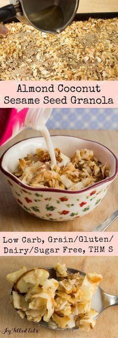 Almond Coconut Sesame Seed Granola - unsweetened flaked coconut, sliced almonds, sesame seeds, sweetener, coconut oil, vanilla