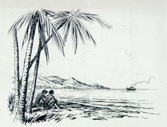sketches of the beach | Drawing in pencil. 12,5cm x 15cm. Monogrammed TFS
