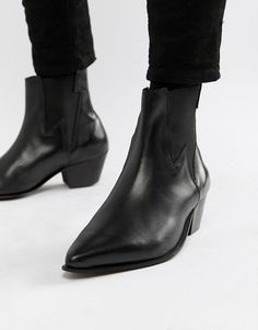 64b1f51ac8 ASOS DESIGN stacked heel western boots in black leather with lightening  detail at asos.com